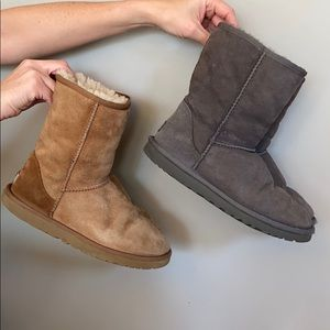Two pairs of authentic uggs grey and tan
